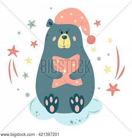 Nursery Vector Illustration In Cartoon Style. Cute Teddy Bear On Cloud With Pillow, Nightcap And Sta