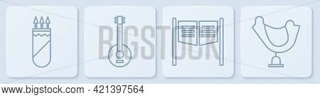 Set Line Quiver With Arrows, Saloon Door, Banjo And Wild West Saddle. White Square Button. Vector