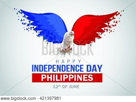Happy Independence Day Philippines. Flying Dove With Philippine Flag. Vector Illustration Design