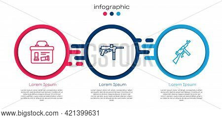 Set Line Military Ammunition Box, Submachine Gun M3 And Tommy. Business Infographic Template. Vector