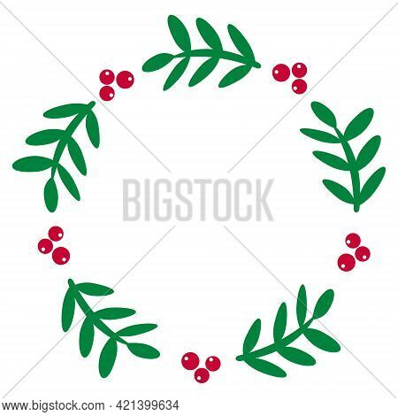 Green Holly Wreath With Bright Berries. Victory Emblem. For Decorating Postcards, Wedding Invitation
