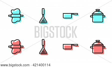 Set Line Saucepan, Rolling Pin On Dough, Barbecue Spatula And Cooking Pot Icon. Vector