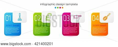Set Line Barbecue Spatula, Water Tap, Saucepan And Kitchen Whisk. Business Infographic Template. Vec