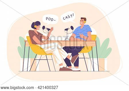 Flat Characters With Headphones And Mic Recording Audio Podcast Or Online Show In Studio. Person On