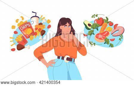Fat Woman Choosing Between Good Healthy And Bad Unhealthy Food. Junk Food Vs Balanced Menu Nutrition