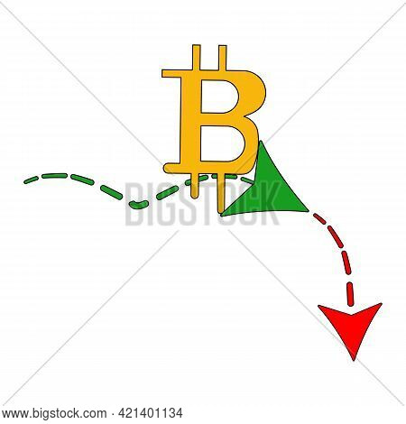 Bitcoin Stock Graph. Bitcoin Growth And Decline Concept Income Graph Up Or Down With Bitcoin Vector