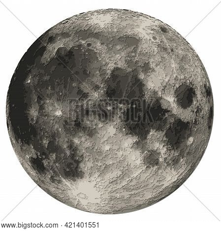 Moon Detailed Carved Papercut Layered Map With Shadows, Isolated On White Background. Elements Of Th