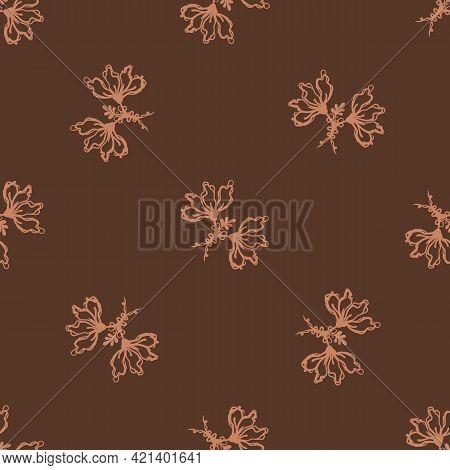 Seamless Minimalist Doodle Leaf Pattern Background. Calm Boho Earthy Tone Color Wallpaper. Simple Mo