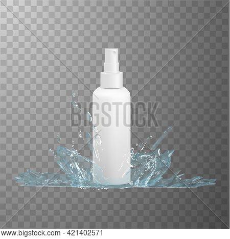 White Plastic Hdpe Bottle With Fine Mist Spray Dispenser Mockup