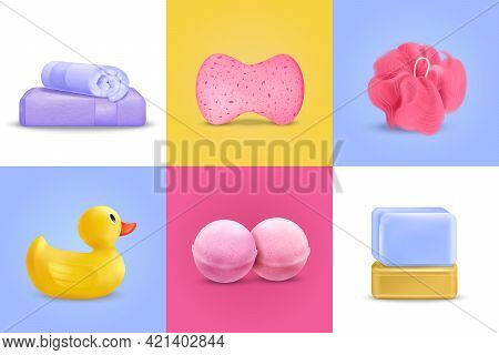 Bath Wash Design Concept Set With Duckling And Soap Realistic Isolated Vector Illustration