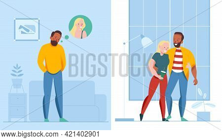 Lonely And Together Design Composition With Relationship Symbols Flat Isolated Vector Illustration