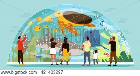 People Watching And Taking Photo Of Sea Animals Swimming Inside Glass Aquarium In Shape Of Dome Flat