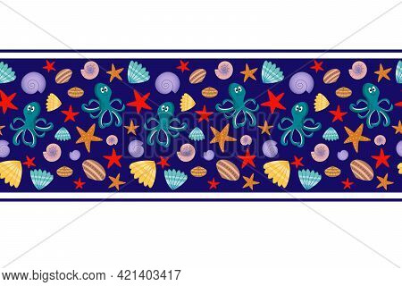Seamless Striped Pattern With A Marine Theme. Colorful Border With Octopus And Seashells On A Blue B