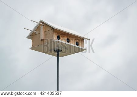 Purple Martin Bird House With Sky In Background