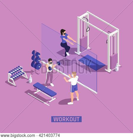 Gym Fitness Workout Centra Corona Pandemic Precautions Clear Plastic Barriers People Wearing Masks I