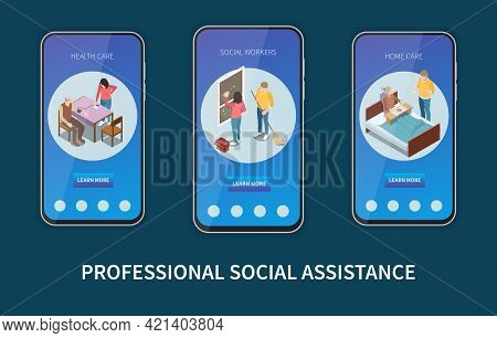 Set Of Three Vertical Elderly People Professional Social Help Service Isometric Banners With Buttons