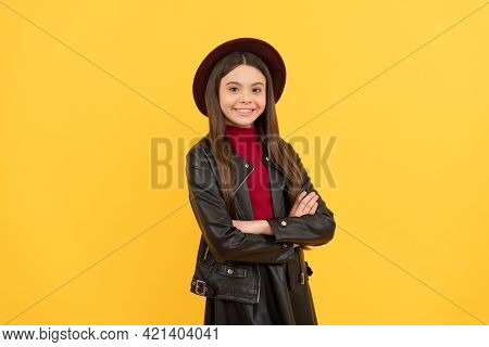 Back To School. Tween Fashion Look. Childhood Happiness. Happy Girl In Leather Wear