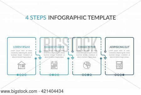Infographic Template With Four Elements With Place For Your Text And Icons, Workflow, Process Chart,