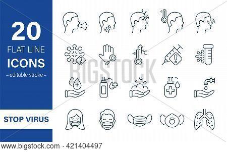 Coronavirus And Flu Linear Icon Set. Coronavirus Safety, Mask Protection, Flu Disease Prevention And