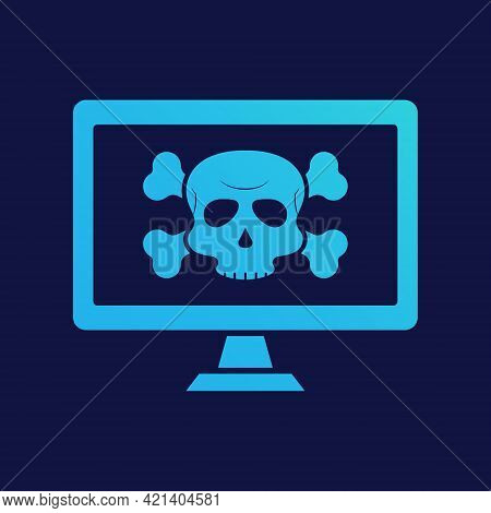 Virus Alert Icon. Computer With Virus. Cyber Attack Alert Icon With Skull. Phishing Scam Concept. Ha