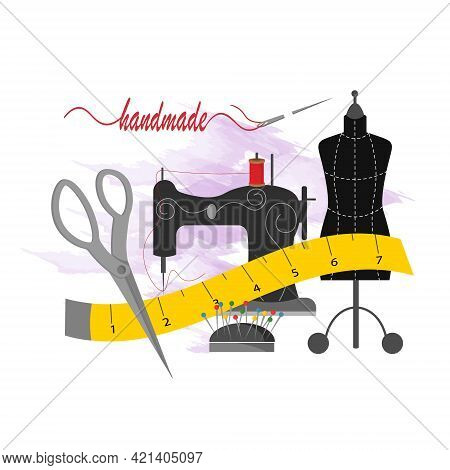 Sewing Machine, Mannequin, Scissors And Pins. Sewing Tools. Card Template For Use In The Garment Ind
