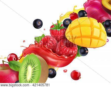 Fuit And Berry In Juice Splash. For Juice, Beverage With Mango, Apple, Kiwi Raspberry Realistic Vect
