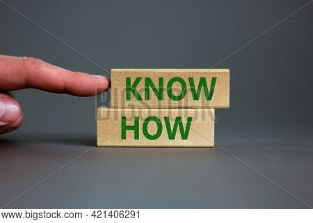 Know How Symbol. Wooden Blocks With Words 'know How' On Beautiful Grey Background, Copy Space. Busin