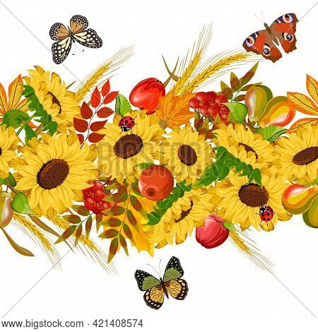 Pattern With Fruits And Sunflowers.sunflowers, Fruits, Autumn Leaves And Butterflies On A White Back