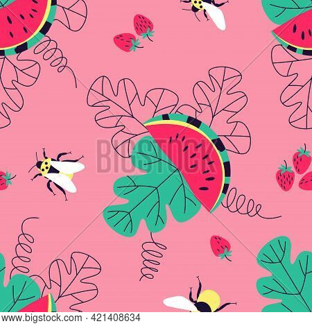 Seamless Summer Pattern With Watermelons, Bees And Strawberries On A Pink Background. Red Berries An