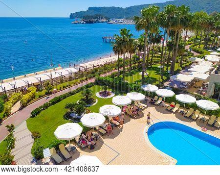 Kemer, Antalya, Turkey - May 11, 2021: Panorama Of Beach Of Golden Lotus 4 Star Hotel