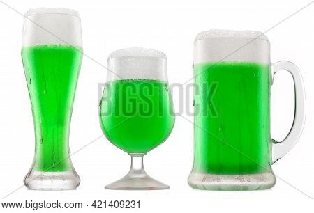 Set Of Fresh Green Beer In Different Mugs With Bubble Froth Isolated On A White Background. 3d Rende