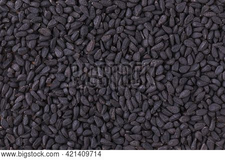 Black Cumin Seeds Close Up, View From Above