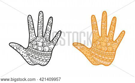 Hand with abstract patterns on isolated background. Design for spiritual relaxation for adults. Zen art. Abstract ornate element. Different color options