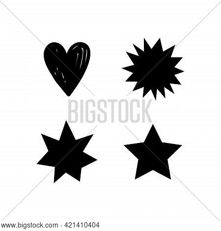Set Of Hand Drawn Stars And Hearts. Black Grungy Elements. Brush Strokes And Splatter. Vector Illust