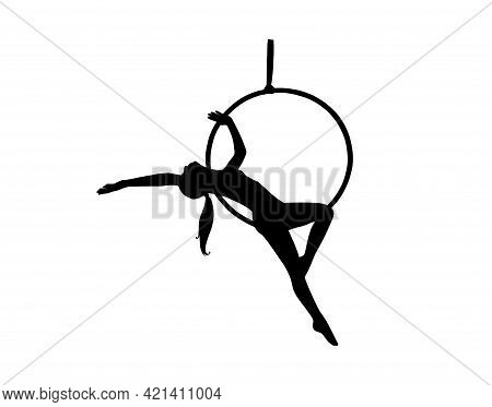 Female Athlete Silhouette Training In The Aerial Lyra. Woman Acrobat In Circus. Vector Illustration
