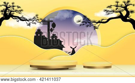 Mid Autumn Festival With Full Moon,branches Tree,podium Display In Yellow Gold Cylinder Stand On Mar