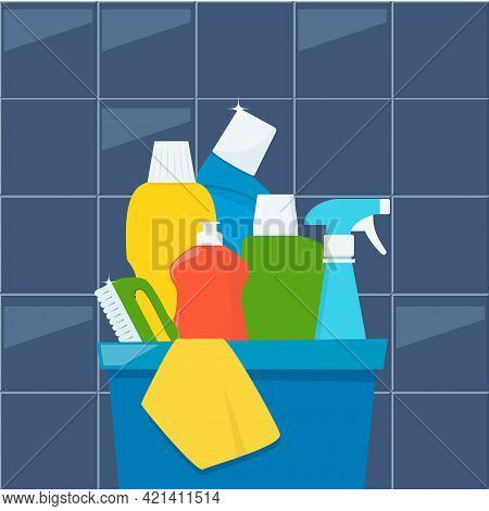 Bottles Of Detergents And Cleaning Products In A Box, Rag And Cleaning Brush. Cleaning Services Conc
