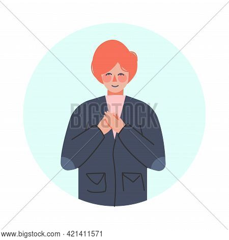 Smiling Man With Hands On Heart Making Positive Hand Gesture In Circular Frame Vector Illustration