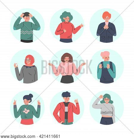 Young Man And Woman Making Positive And Negative Hand Gestures In Circular Frames Vector Illustratio