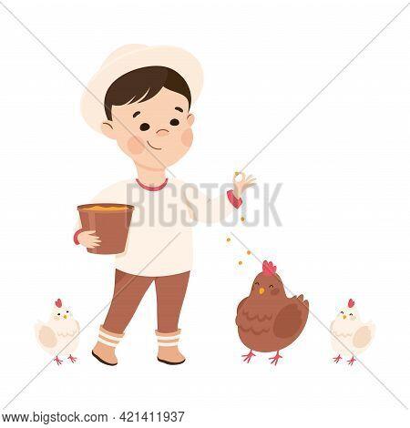 Little Boy Feeding Livestock With Grain Representing Farmer Profession Vector Illustration