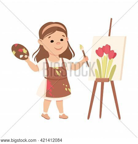 Little Girl With Brush And Drawing Easel Representing Artist Profession Vector Illustration