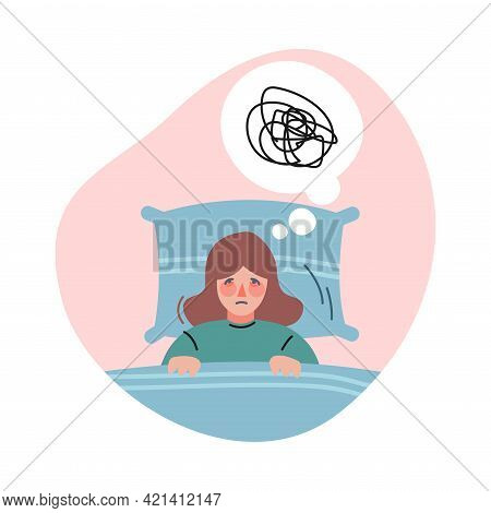 Frustrated Girl With Bad Sadness Thoughts, Depressed Woman Lying In Bed Feeling Confusion Of Thought