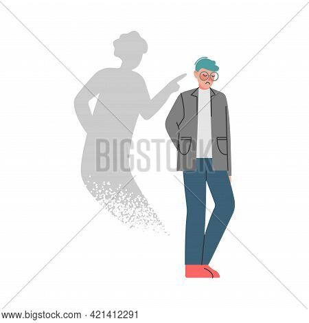 Man With Bipolar Disorder, Split Personality, Male Person Suffering From Psychological Disease Carto