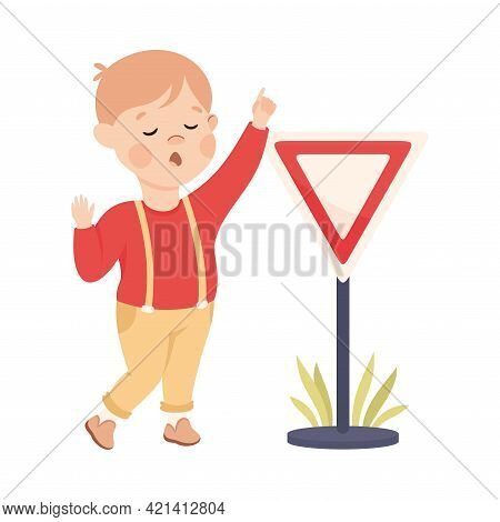 Little Boy Pedestrian Learning Road Sign And Traffic Rule Vector Illustration