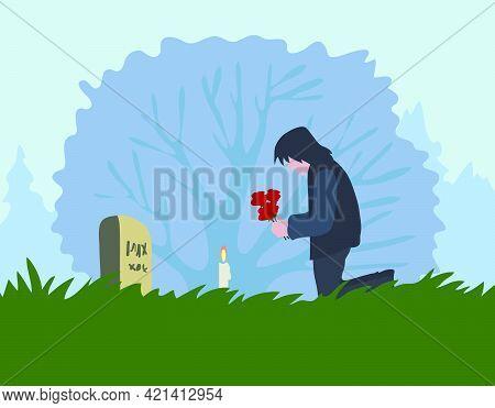 Lost Heart Illustration Man In Cemetery