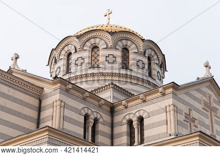 Dome Of The St Vladimir Cathedral,  Neo-byzantine Russian Orthodox Cathedral On The Site Of Chersone