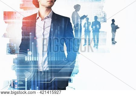 Office Man Standing In Black Suit, Double Exposure Of Business Buildings And Teamwork, Forex Stock M