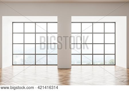 Empty Living Room Design Interior. Modern Stylish Home Area. Oak Parquet Floor. Panoramic Window. Fr