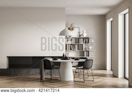 Modern Home Interior With Fireplace, Round Designer Table, Wooden Parquet Floor, Panoramic Windows.