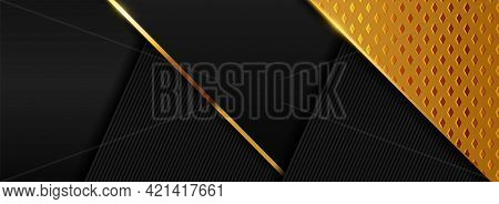 Modern Black Background With Overlap Textured Layered And Combined With Golden Element. Graphic Desi